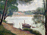 Riviere Painting Framed Prints - River Landscape with a boat Framed Print by Georges Pierre Seurat