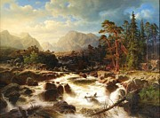 1854 Paintings - River landscape with Figures by Pg Reproductions