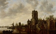 Yacht Paintings - River Landscape with the Pellecussen Gate near Utrecht by Jan Josephsz van Goyen
