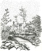 White River Drawings Prints - River - McMichael Print by Judy Horan