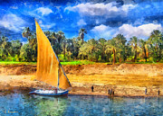 Sunset Sailing Prints - River Nile Print by George Rossidis