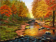 Golds Prints - River of Colors Print by Sena Wilson