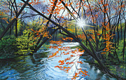 Fall  Of River Paintings - River of Joy by Lynn Hansen