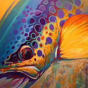 Brown Paintings - River Orchid - Brown Trout by Mike Savlen