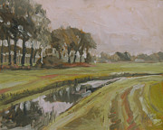 Nederland Paintings - River Reusel near Baarschot by Nop Briex