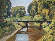 Nederland Paintings - River Reusel by Nop Briex