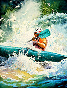 Kayaking Art Paintings - River Rocket by Hanne Lore Koehler