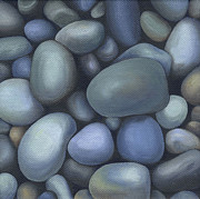 Blue And White Painting Prints - River Rocks Print by Natasha Denger