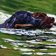 Dog With Stick Paintings - River Run by Molly Poole