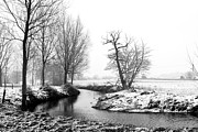 Rime Photo Framed Prints - River Running Through A Winter Snow Scene Framed Print by Fizzy Image
