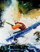 Watercolor Sports Art Paintings - River Rush by Hanne Lore Koehler