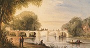 Light Green Drawings Posters - River scene with bridge of six arches Poster by Robert Hindmarsh Grundy