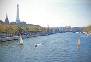 Sail Boats Posters - River Seine Poster by Chuck Staley