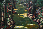Liquid Painting Prints - River Shadows after Sisley Print by Charlie Spear