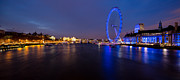 Ferris Wheel Night Photography Framed Prints - River Thames and London Eye Framed Print by Adam Pender
