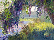 South Carolina Low Country Marsh Paintings - River Through the Moss by Patricia Huff