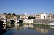 City Scape Acrylic Prints - River Tiber with the Vatican. Rome Acrylic Print by Bernard Jaubert