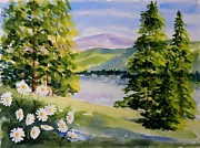 River View Paintings - River View by Karen Case