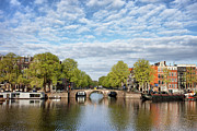 Linked Prints - River View of Amsterdam in the Netherlands Print by Artur Bogacki