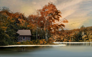 River Cabin Prints - River View Print by Robin-lee Vieira