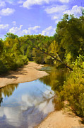 Photomanipulation Photo Prints - River view with reflections - Digital Paint Print by Debbie Portwood