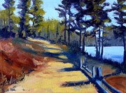Mountain Biking Paintings - River Walk by Nancy Merkle