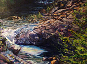 Calistoga Painting Posters - River Water Rapids Poster by Art By Lisabelle