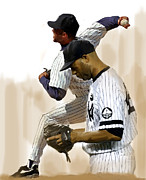 Pitcher Drawings Metal Prints - RIVERA  Mariano Rivera  Metal Print by Iconic Images Art Gallery David Pucciarelli