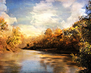 Autumn Landscape Framed Prints - Riverbend Framed Print by Jai Johnson