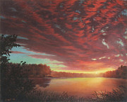 Riverbend Sunset Sky River Landscape Oil Painting American Yellow Pink Orange Print by Walt Curlee