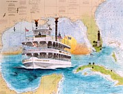Map Art Painting Posters - Riverboat Jungle Queen FL Chart Map Art Cathy Peek Poster by Cathy Peek