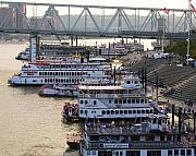 Rivers Ohio Prints - Riverboat Row Print by Mel Steinhauer
