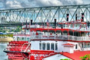Riverboats Framed Prints - Riverboats Of Cincinnati Framed Print by Mel Steinhauer