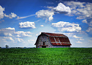 Cricket Hackmann Framed Prints - Riverbottom Barn Against the Sky Framed Print by Cricket Hackmann
