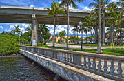 Florida Bridges Prints - Riverfront Downtown Fort Myers Print by Timothy Lowry