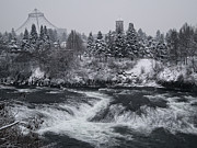 Clocktower Prints - Riverfront Park Winter Storm - Spokane Washington Print by Daniel Hagerman