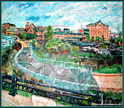 Grill Mixed Media Posters - Riverfront Wilmington Poster by Keith OBrien Simms