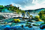Mountain Digital Art Prints - Riverscape Print by Ayse T Werner