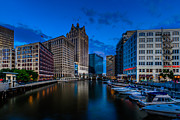 Riverwalk Prints - Riverside Blue Hour Print by Randy Scherkenbach