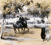 Horse Drawing Posters - Riverside Drive Poster by William James Glackens