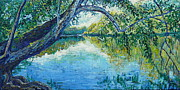 River View Paintings - Riverside by Linda J Bean