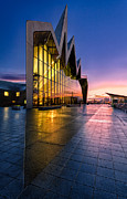 Glasgow Cityscape Framed Prints - Riverside Museum Glasgow Sunrising Framed Print by John Farnan