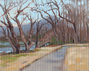 January Paintings - Riverside Park in January by Todd Baxter
