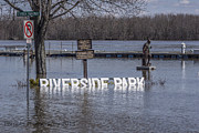 River Flooding Framed Prints - Riverside Park No More Framed Print by Paul Brooks