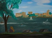 Jet Ski Paintings - Riverside by Rosalie Dizon