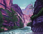 National Pastels Framed Prints - Riverside Walk Zion National Park Framed Print by Marion Derrett