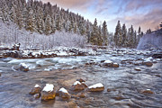 Winter Scenes Prints - Riverwalk at Sunrise Print by Darren  White