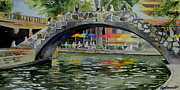Riverwalk Paintings - Riverwalk Bridge by Jeffrey S Perrine