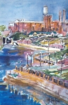 Bureau Painting Prints - Riverwalk Print by Helen Lee