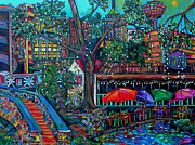 Downtown Painting Metal Prints - Riverwalk Metal Print by Patti Schermerhorn